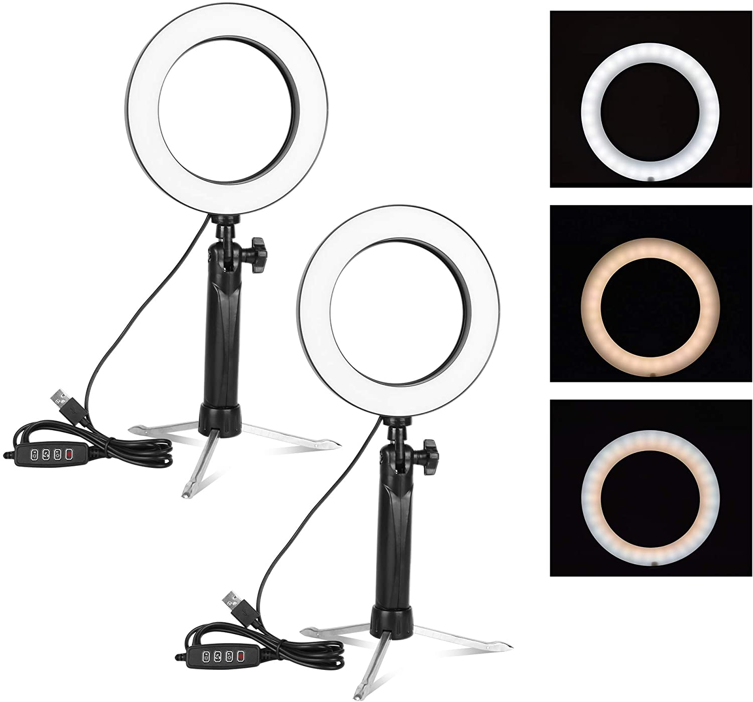 Emart 6'' LED Ring Light with Tripod Stand, 3 Light Modes & 11 Brightness Level Photography Continuous Portable Lighting Kit for Table Top Photo Video Studio - 2 Sets