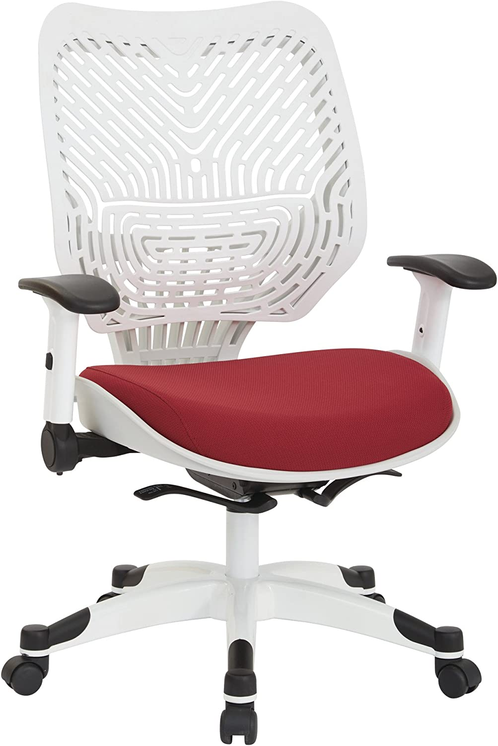 SPACE Seating Pulsar Self Adjusting SpaceFlex White Backrest Support and Padded Mesh Seat with Height Adjustable Flip Arms and Coated Nylon Base Managers Chair, Rouge
