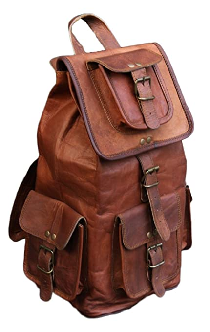 "9306eef385d Valentine Gift by VH 20"" Handmade Genuine Leather Backpack College Bag  travel bag laptop bag"