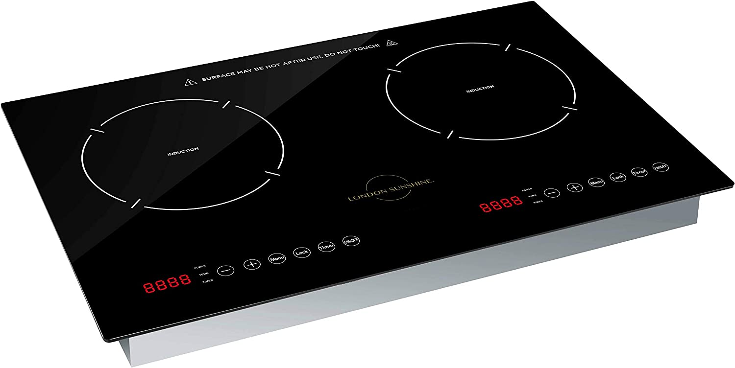 London Sunshine Induction Cooktop Dual Burner ETL Certified Built in Countertop 1800W Touch Panel Controls