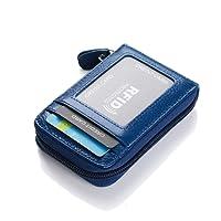Leder Karten Geldbörse Leder Kreditkartenetui RFID Scheckkarten Kartenetui Visitenkartenetui Hülle-Halter-Schutz Damen Herren 12 Fächer