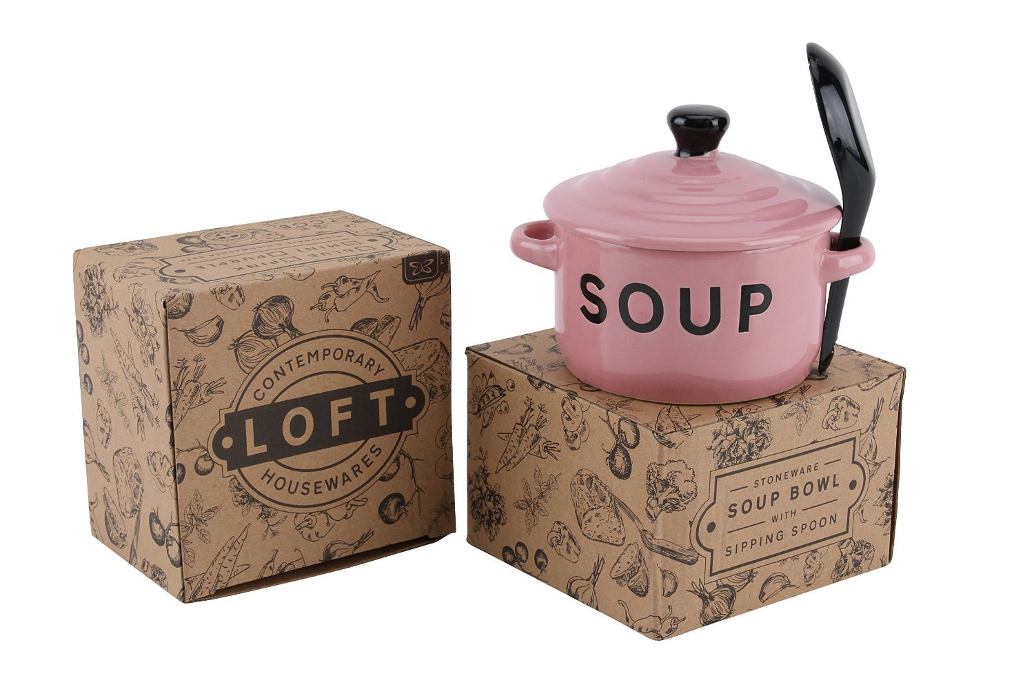 Contemporary Housewares Loft Stoneware Soup Bowl With Lid And Sipping Spoon ~ Pink Carousel Home