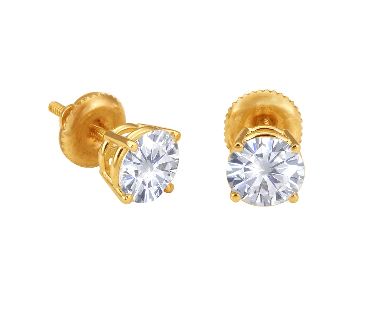 Beautiful! 14K Yellow Gold Threaded Screw Back Pair 6.5mm Each Forever Classic Moissanite (1.76CT TW Actual Weight, 2.0CT TW Diamond Equivalent Weight) Round 4 Prong Stud Earrings