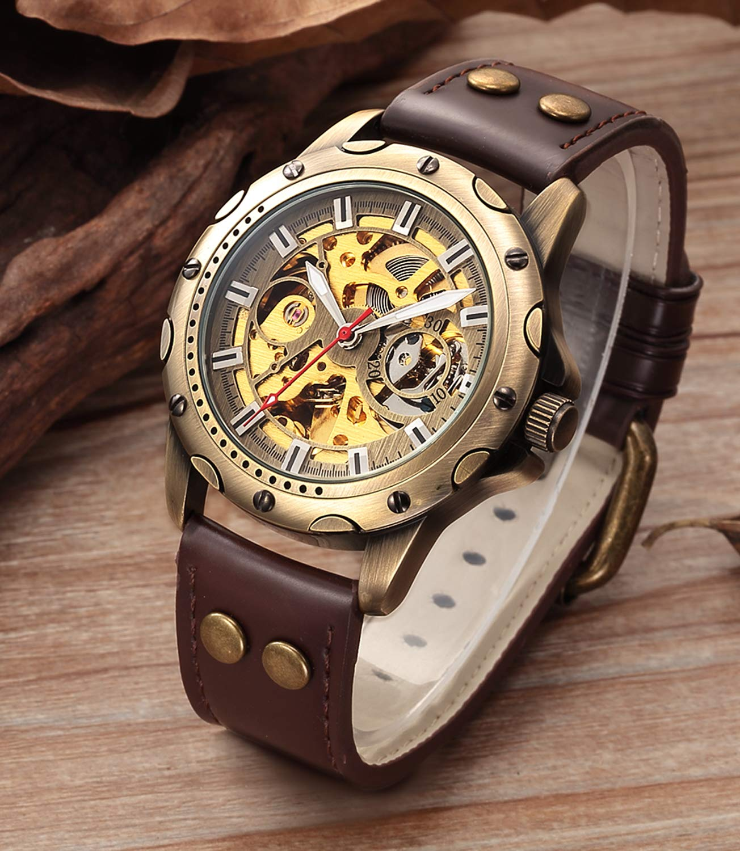 Carrie Hughes Men's Bronze Skeleton Steampunk Automatic Mechanical Leather Watch BTMAN53 4