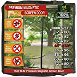 """TheFitLife Magnetic Screen Door - Heavy Duty Mesh Curtain with Full Frame Hook and Loop Powerful Magnets that Snap Shut Automatically - 48""""x83"""" Fits Door Size up to 46""""x82"""" Max"""