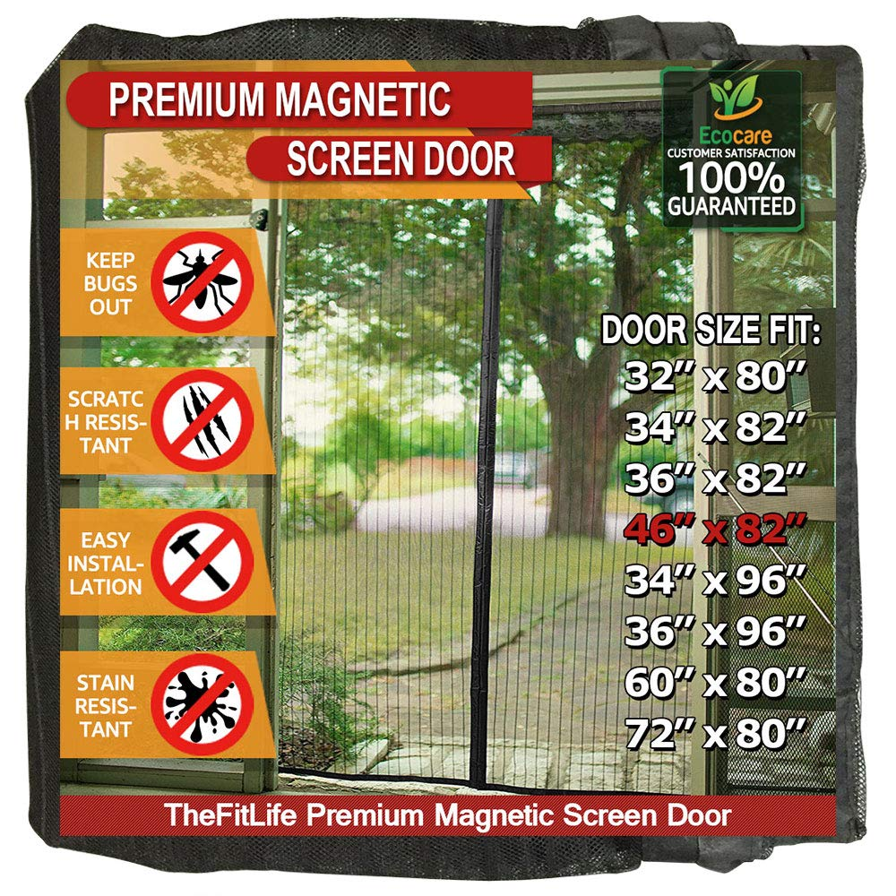 TheFitLife Magnetic Screen Door - Heavy Duty Mesh Curtain with Full Frame Hook and Loop Powerful Magnets That Snap Shut Automatically - Black 48''x83'' Fits Door Size up to 46''x82'' Max by TheFitLife