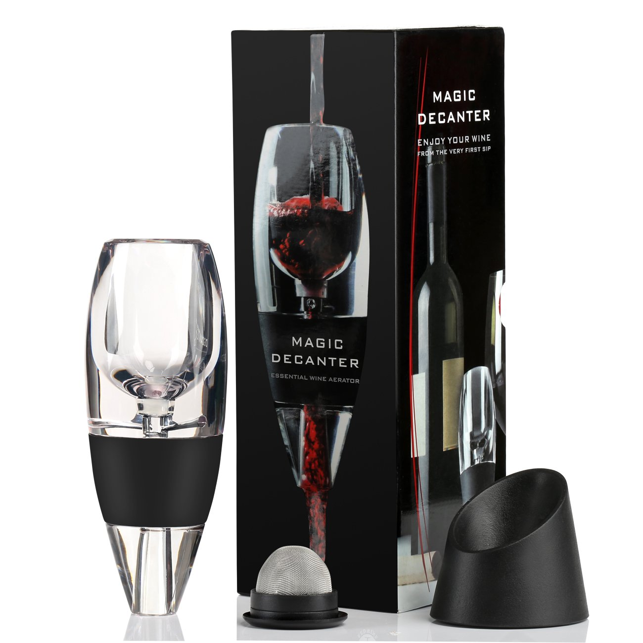 GWHOLE Wine Aerator Decanter with Stand Spout Essential for Wine