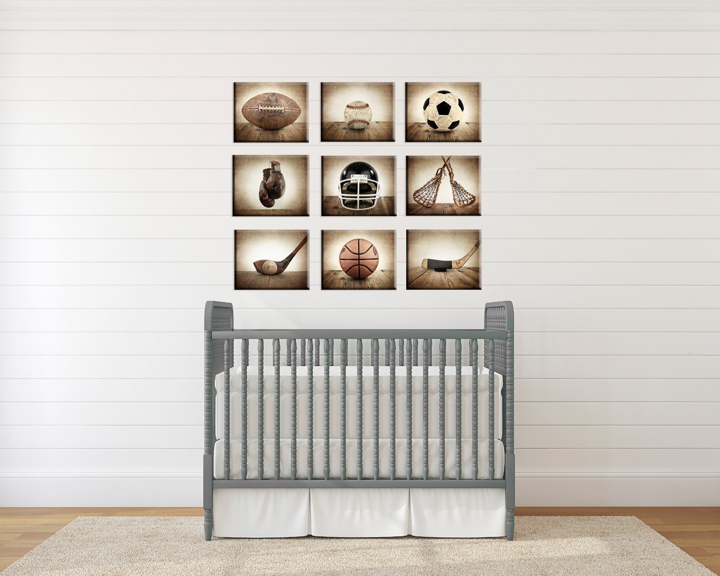 Sports Themed Canvas Wall art for boys, Vintage Sports Set of 9 Canvas prints ready to hang, multiple sizes available, Vintage themed baseball, basketball, soccer, football, golf, lacrosse and boxing.