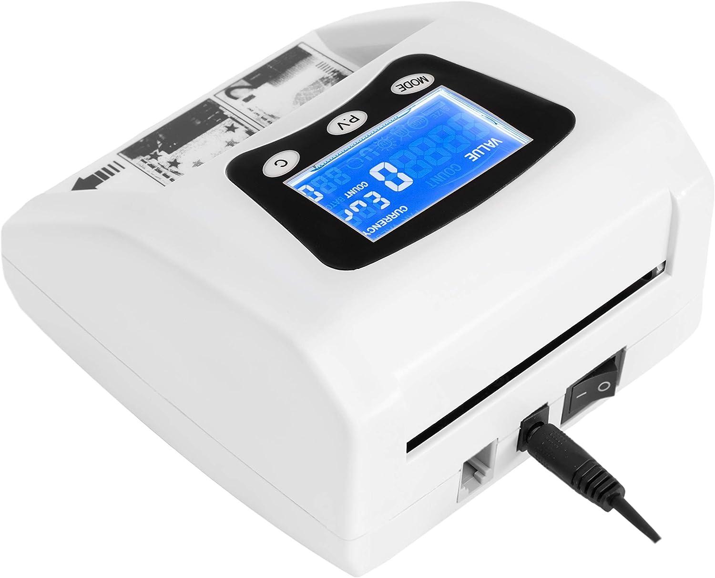 JeVx Maquina Detector y Contador de Billetes Falsos Automatico Comercial de Dinero 5 Sistemas de Deteccion de Seguridad Euros
