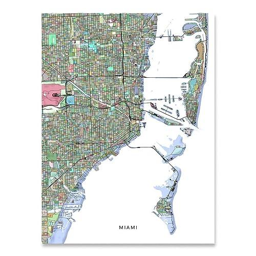 Amazon.com: Miami Map Print, Florida USA, FL City Street Art ...