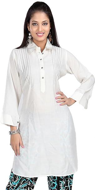 Mujer Largo Kurti Túnica rayón algodón blusa India Ropa blanco blanco crema L..