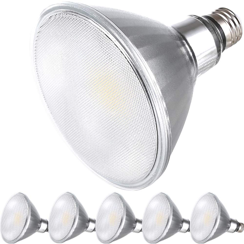 Explux Commercial Lighting Premium Full-glass Dimmable LED PAR38 Flood Light Bulbs, 4100K Cool White, Indoor/Outdoor, 14W (120-Watt Equivalent), 6-Pack