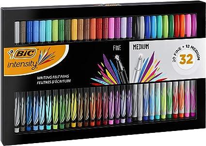 BIC Intensity Estuche de 32 rotuladores de punta fina y media - Colores surtidos para escribir, dibujar, colorear - Estuche de Regalo: Amazon.es: Oficina y papelería