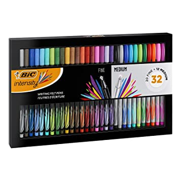 BIC Intensity Estuche de rotuladores de punta fina y Media - Varios colores, Estuche de Regalo