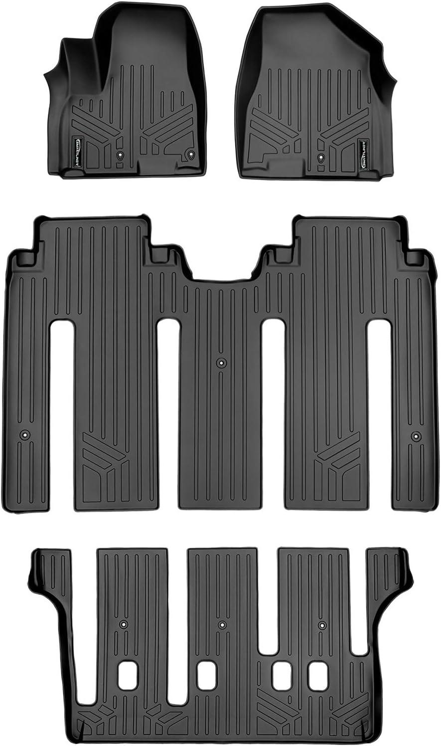 SMARTLINER Custom Fit Floor Mats 3 Row Liner Set Black for 2015-2021 Kia Sedona 7 Passenger Model Only