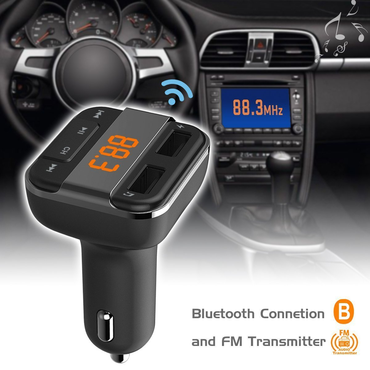 Perbeat Car Bluetooth FM transmitter for iPhone/Android with MP3 Music controls. Dual USB Charging ports. Supports USB/Micro SD card. Hands Free Remote control BT10 Black by Perbeat (Image #6)