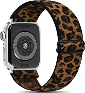 Meliya Stretchy Loop Band Compatible with Apple Watch Bands 38mm 40mm 42mm 44mm, Adjustable Soft Elastic Strap for iWatch Series 6 5 4 3 2 1 SE (Leopard, 38mm/40mm)