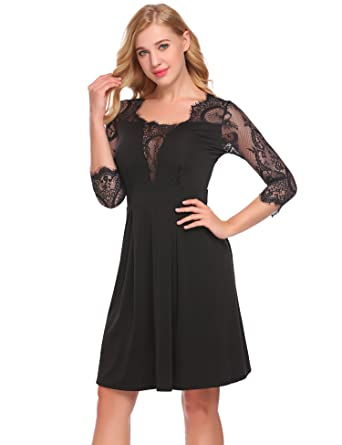 UNibelle Womens Lace Layered A-Line Dress Long Sleeve Round Neck ... 81162f4dc2