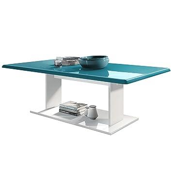 Dessus Blanc Avec De Brillance Plateau Mono Basse Turquoise Salon Table Haute En 6b7yYfgv