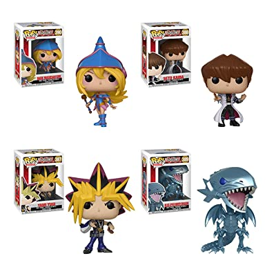 POP Animation: Yu-Gi-Oh! Yami Yugi, Seto Kaiba, Blue-Eyes White Dragon and Dark Magician Girl Vinyl Figures Set: Toys & Games