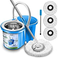 Aootek Upgraded Stainless Steel Deluxe 360 Spin Mop & Bucket Floor Mopping System Included EasyPress Handle with 3…