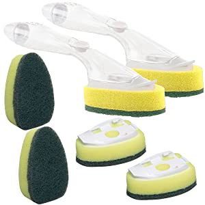 Scotch-Brite (2 Dishwands and 6 Refill Replacement Heads) Heavy Duty Dish Wand Sponge For Kitchen Sink Cleaning Brush