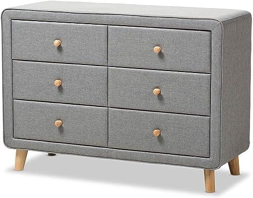 Baxton Studio Jonesy Mid-Century Grey Fabric Upholstered 6-Drawer Dresser