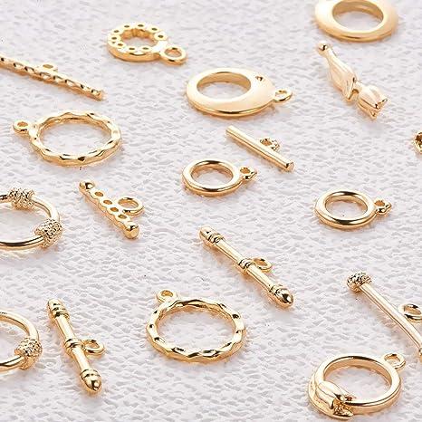 6 Style Mixte BENECREAT 12 Ensembles Plaque Or 18K Fermoir a Bascule pour Collier Bracelet Fabrication de Bijoux