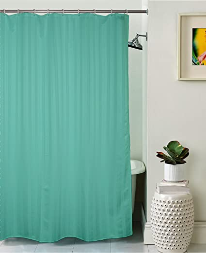 Lushomes Unidyed Green Polyester Shower Curtain with 12 Plastic Eyelets