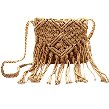 Beach Style Crochet Cross-Body Bag Rattan Shoulder Bag Tassels Bag for Women