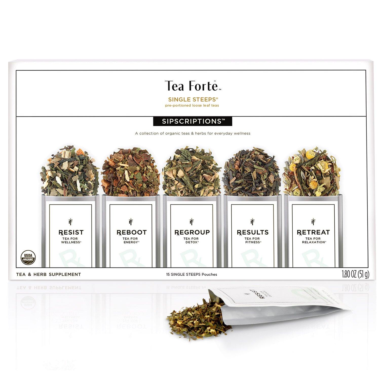 Tea Forte Sipscriptions Single Steeps 15 Pouches 3 of each blend (Sipscriptions)