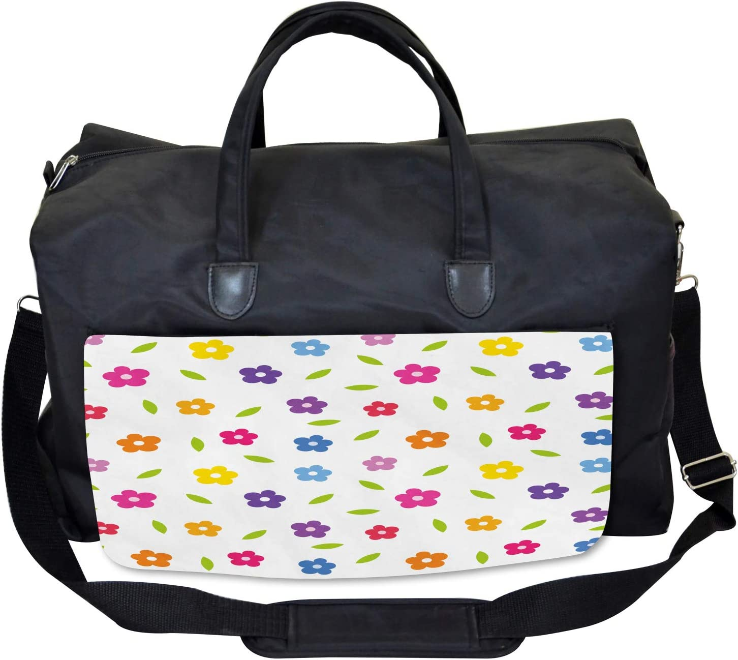 Ambesonne Colorful Gym Bag Daisies Leaves Meadow Large Weekender Carry-on