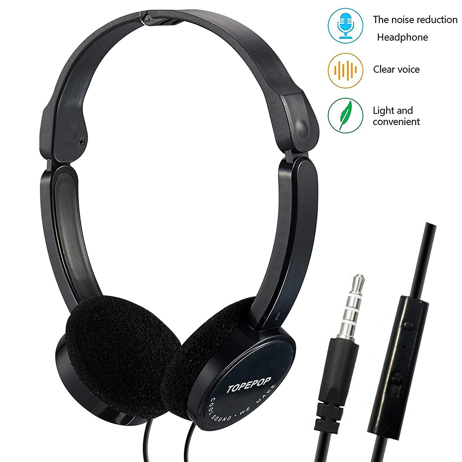 Wired Headphones Over Ear Earphones Foldable Lightweight Headsets Stereo Noise Cancelling Earpiece with Mic 3.5mm Jack Headband Headphones for Kids Boys Girls Men Women Cell Phones Computer PC iPad