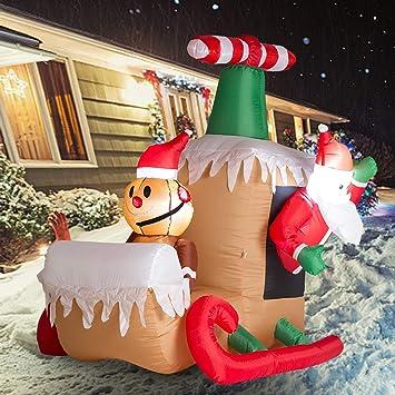 Amazon Com Wonline 6ft Long Christmas Inflatable Santa