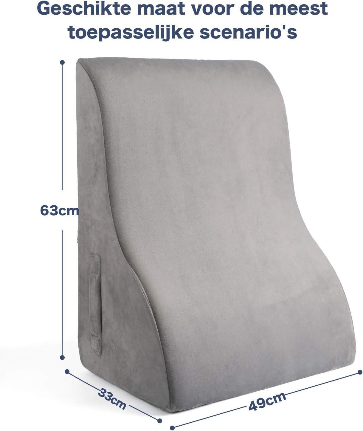 Almohada de cu/ña para ver y leer en la cama o sof/á SAPOIGUANA piernas y rodillas ayuda con el reflujo /ácido fabricado en espuma con funda extra/íble y lavable Coj/ín de apoyo para espalda