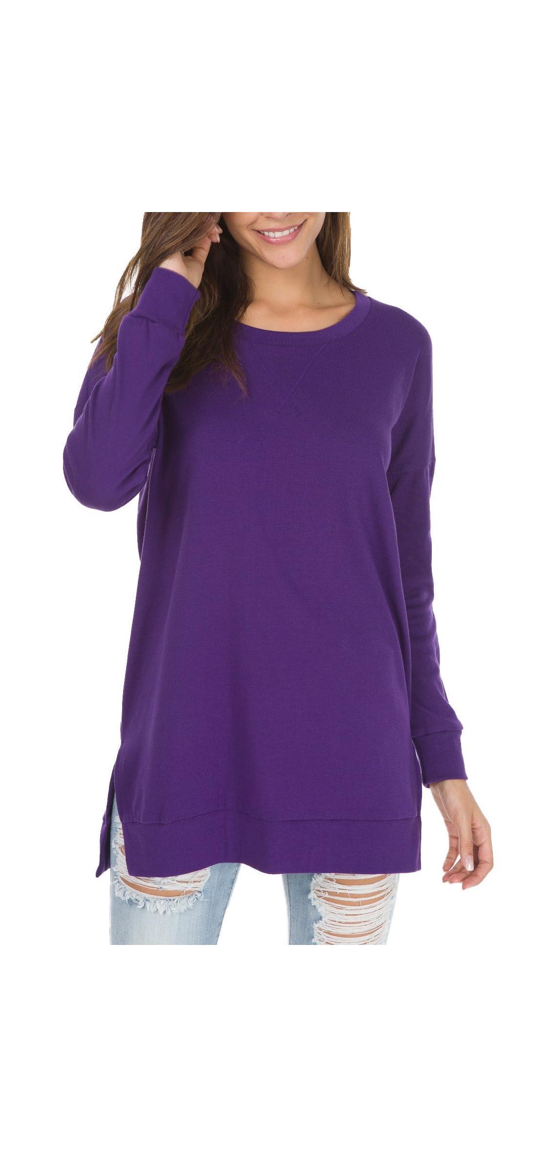 Women's Fall Long Sleeve Side Split Loose Casual Pullover