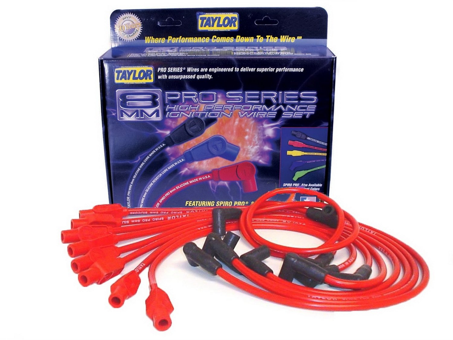 Taylor Cable 74276 Spiro-Pro Red Spark Plug Wire Set