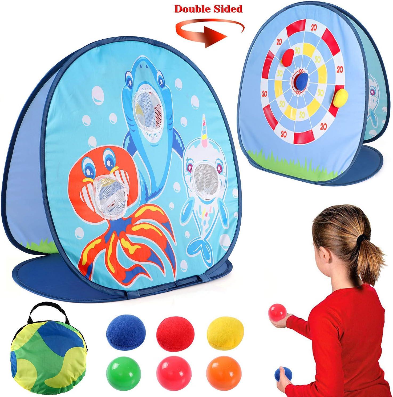 Bean Bag Toss Indoor Outdoor Games for Kids Cornhole Sets Shark Toss Game Dart Board Game Fun Party Game Outdoor Indoor Game for Toddlers Boys Girls