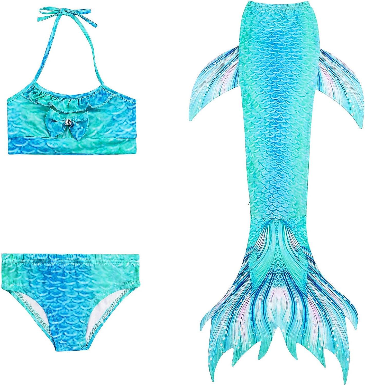 Knickers De feuilles 3pcs Kid Girls Mermaid Swimming Costume Includes Halter Bikini Top Mermaid Tail Swimwear