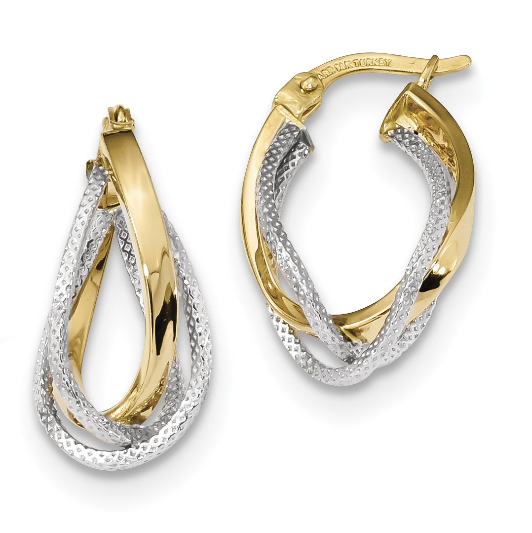 ICE CARATS 14k Two Tone Yellow Gold Textured Twisted Hoop Earrings Ear Hoops Set Fine Jewelry Gift Set For Women Heart