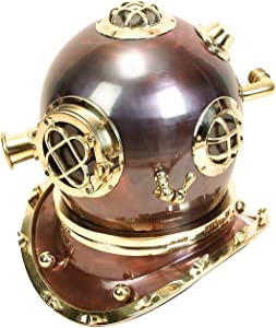 Deco 79 Brass Diving Helmet, 17 by 16-Inch