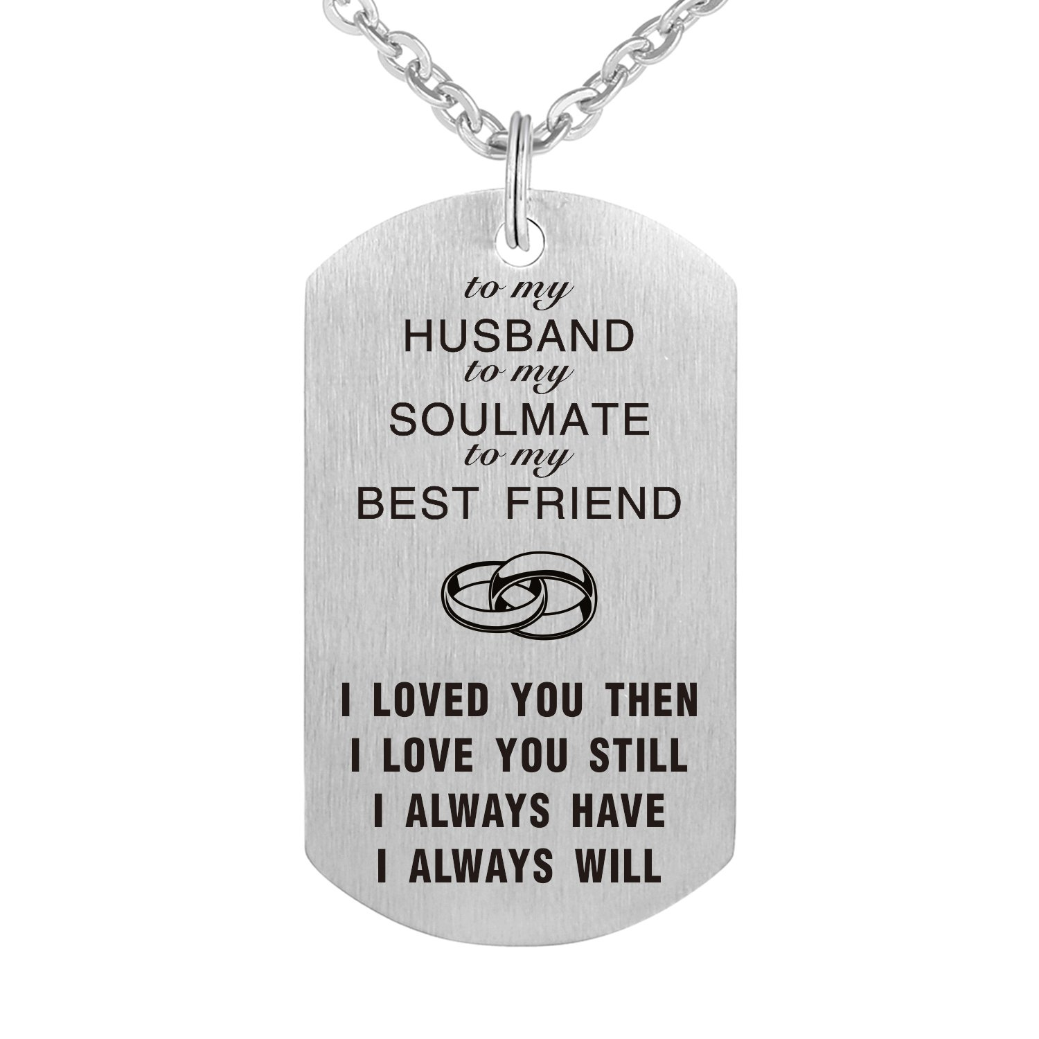 To My Love Wife Husband Soulmate BestFriend Dog Tag Necklace Stainless Steel Military Dogtags Necklaces CraDiabh UK_B0789SMCGG