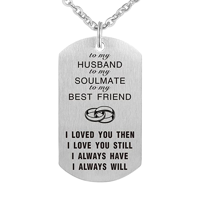 2d2b98e5bf To My Love Wife Husband Soulmate BestFriend Dog Tag Necklace Stainless  Steel Military Dogtags Necklaces (to Husband) | Amazon.com