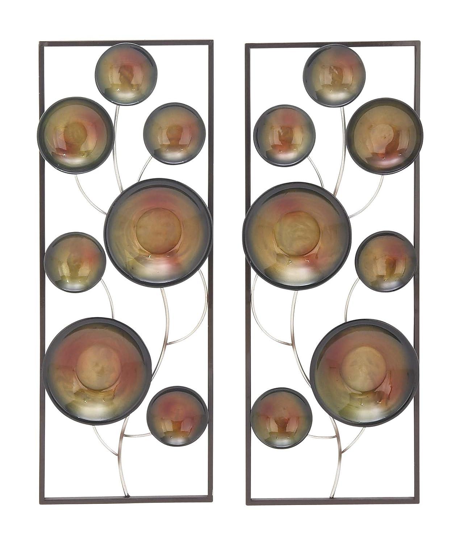デコ79 22637フラワーメタル壁装飾(2セット、ブラック/真鍮/シルバー   B01NB1TLK8