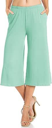 Fashion California Womens 1-3 Pack Jersey Culottes Capri Pocket Pants Accordion Pleated Culottes Capri Pants(S-5XL, S/M-2X/3XL)