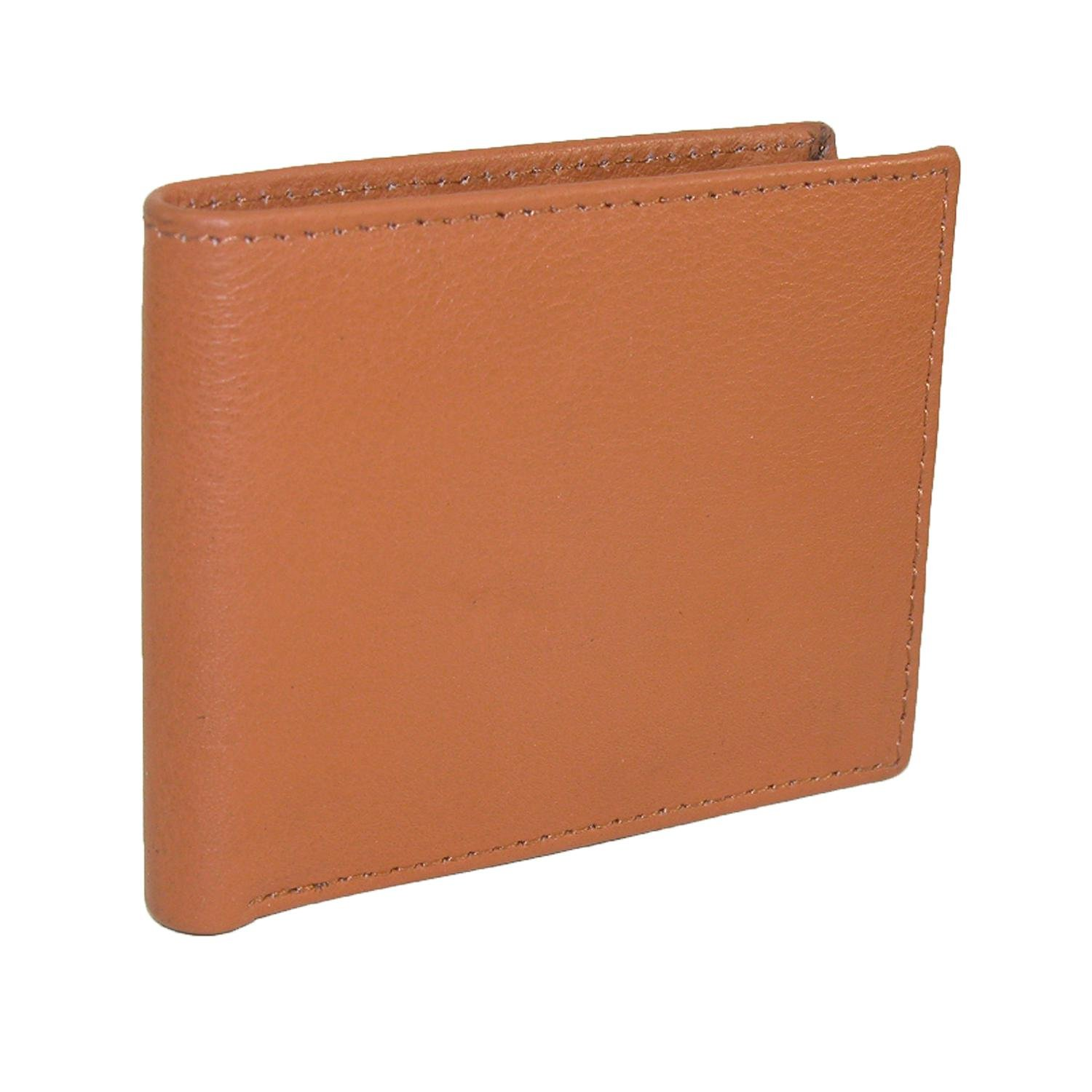 CTM Mens Leather RFID Protected Bilfold Wallet with Flip Up Passcase Brown CL-51402-BRN