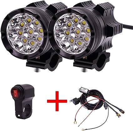 Fácil de instalar Motocicleta LED Faros Spot Lights Bombilla 2 ...
