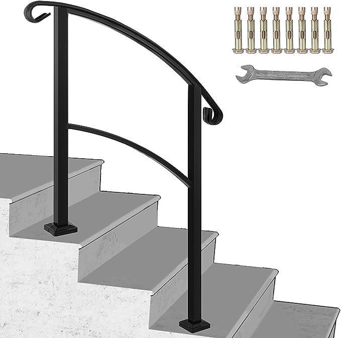 Happybuy - Pasamanos ajustable de 3 pasos para escaleras de acero inoxidable con kit de instalación de rieles de mano para escalones al aire libre: Amazon.es: Bricolaje y herramientas