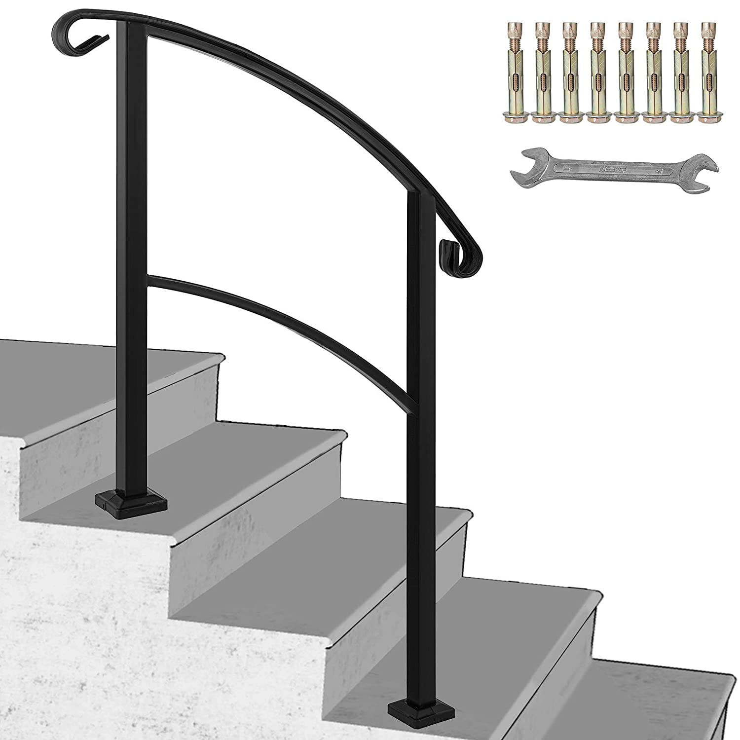 Happybuy 3-Step Transitional Handrail Fits 1 or 3 Steps Matte Black Stair Rail Wrought Iron Handrail with Installation Kit Hand Rails for Outdoor Steps