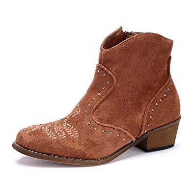 Women's Zipper Ankle Boot Block Low Heel Closed Toe Cowboy Bootie Casual Shoes